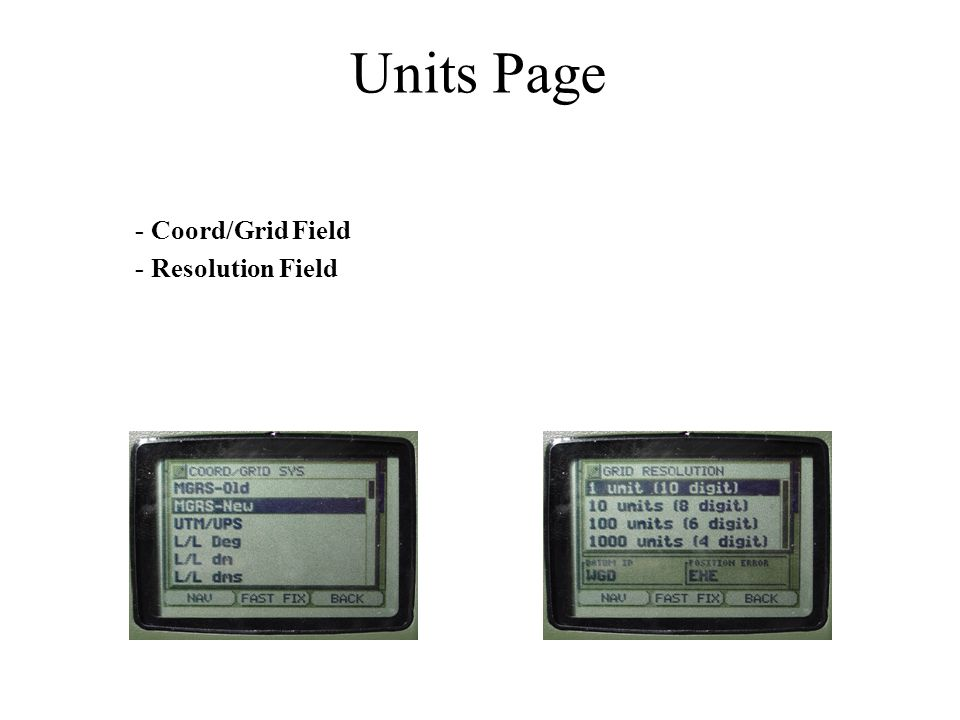 Units Page - Coord/Grid Field - Resolution Field