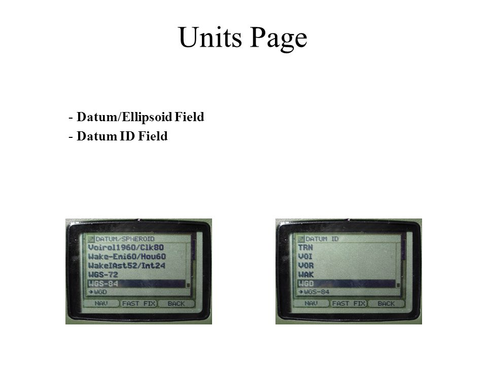Units Page - Datum/Ellipsoid Field - Datum ID Field