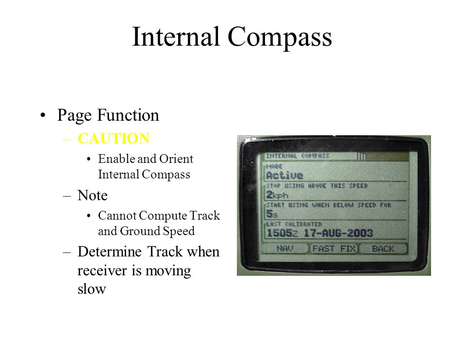 Internal Compass Page Function CAUTION Note