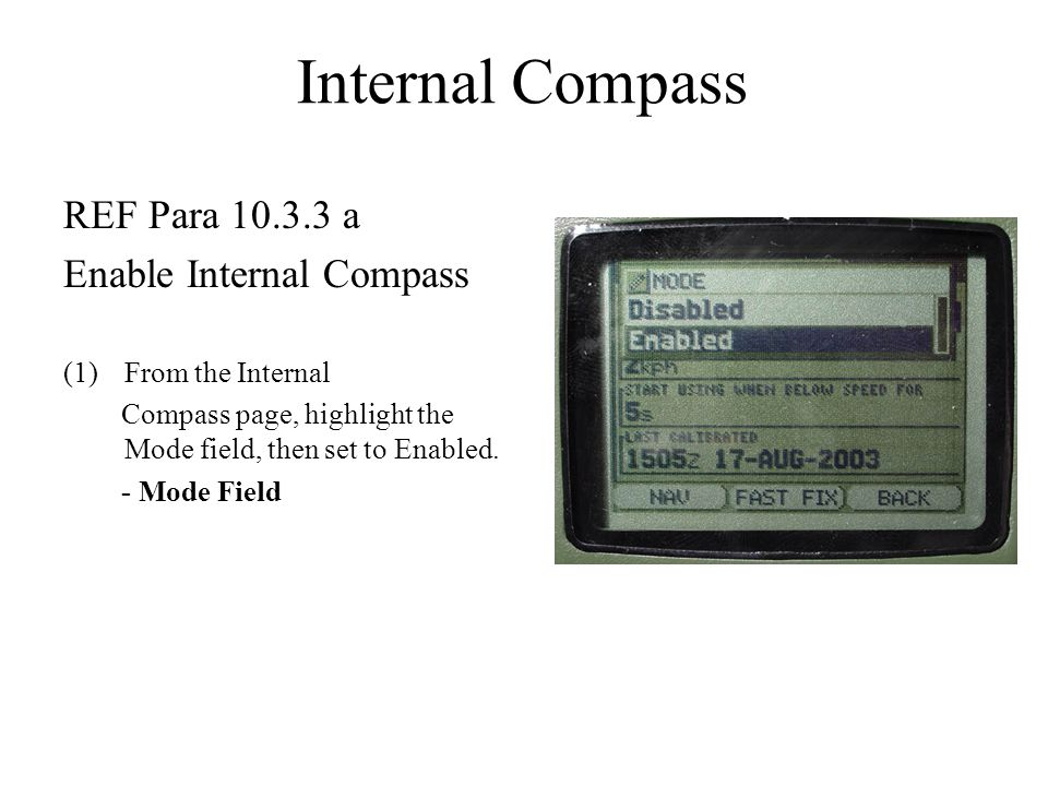Internal Compass REF Para 10.3.3 a Enable Internal Compass