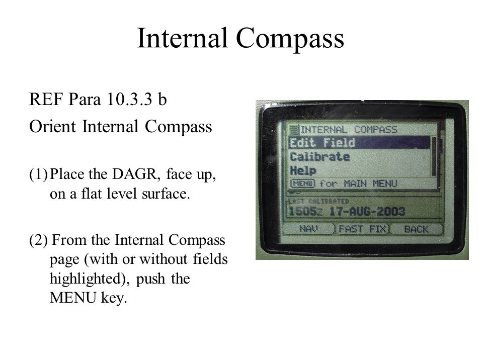 Internal Compass REF Para 10.3.3 b Orient Internal Compass