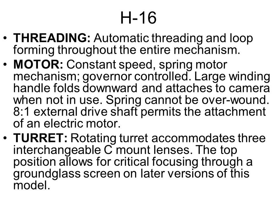 H-16 THREADING: Automatic threading and loop forming throughout the entire mechanism.