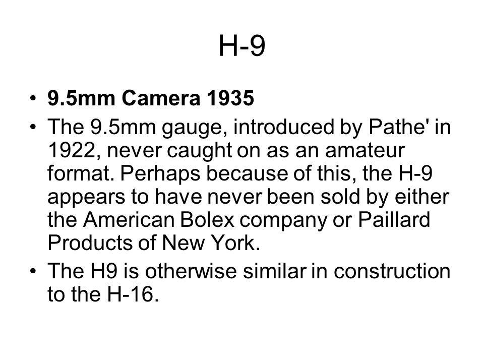 H-9 9.5mm Camera 1935.
