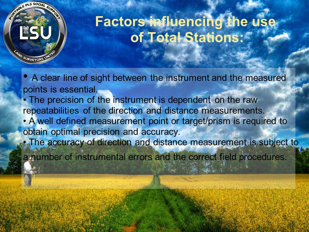 Factors influencing the use of Total Stations: