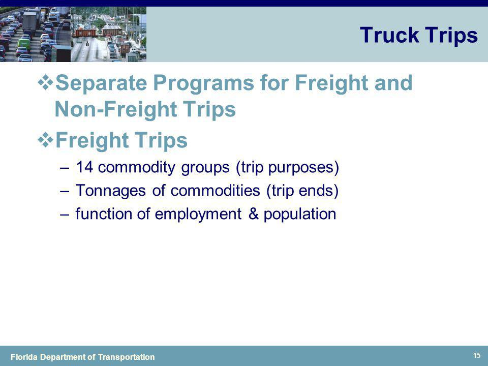 Separate Programs for Freight and Non-Freight Trips Freight Trips