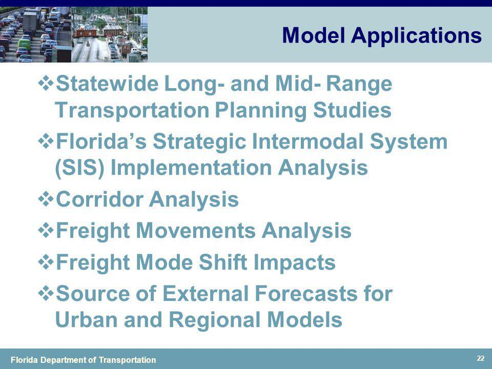 Model Applications Statewide Long- and Mid- Range Transportation Planning Studies.