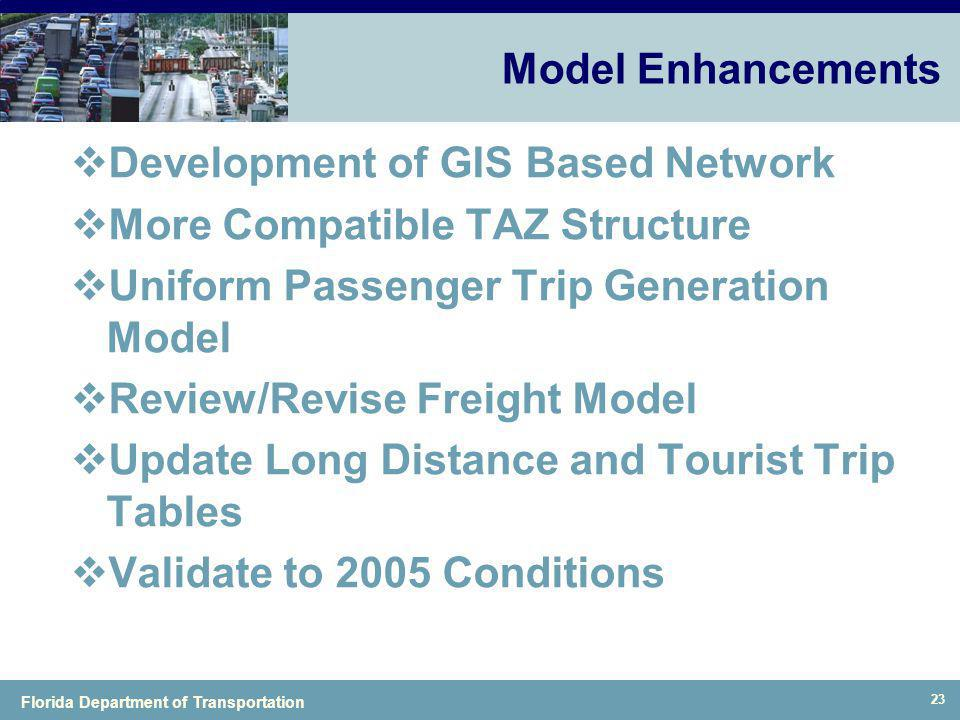 Model Enhancements Development of GIS Based Network. More Compatible TAZ Structure. Uniform Passenger Trip Generation Model.