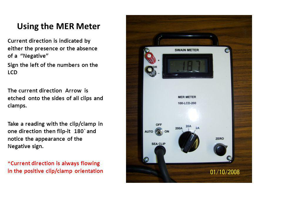 Using the MER Meter Current direction is indicated by either the presence or the absence of a Negative