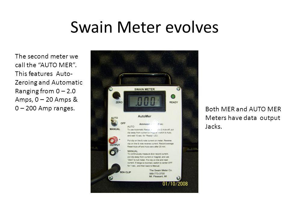 Swain Meter evolves The second meter we call the AUTO MER . This features Auto- Zeroing and Automatic.