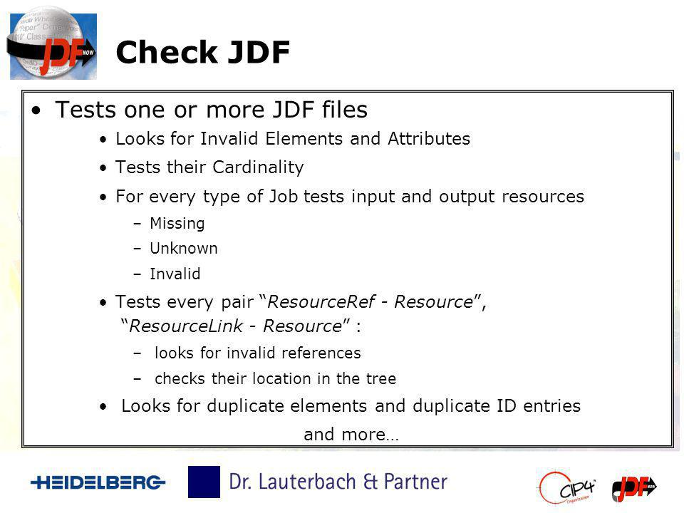 Check JDF Tests one or more JDF files