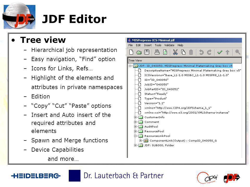 JDF Editor Tree view Hierarchical job representation