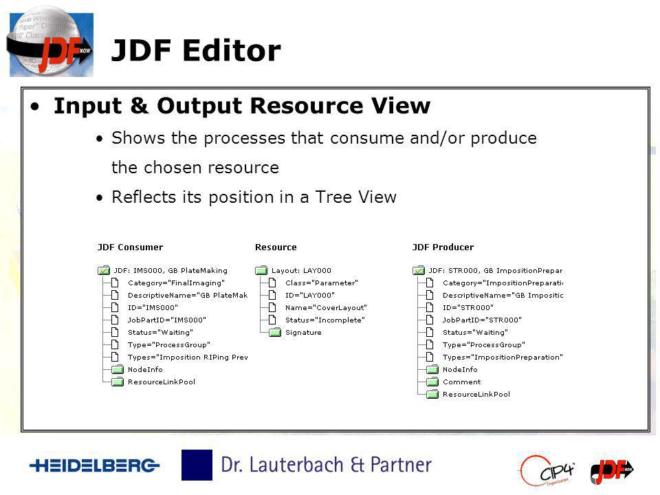 JDF Editor Input & Output Resource View