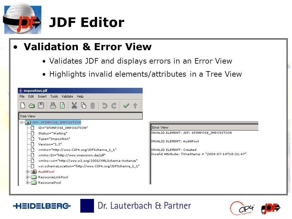 JDF Editor Validation & Error View