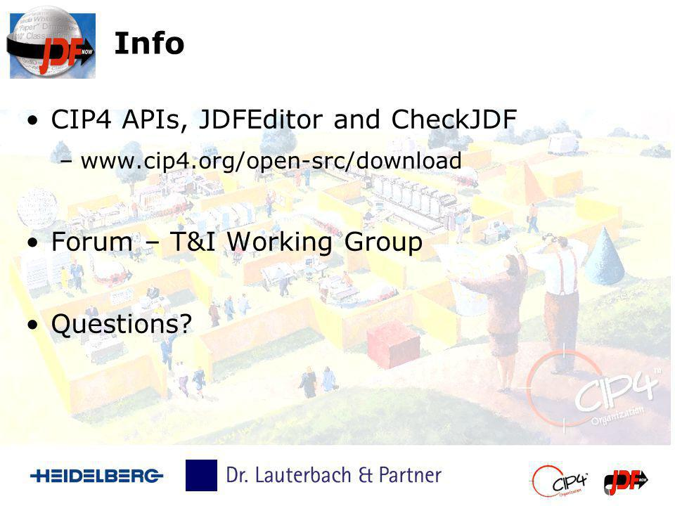 Info CIP4 APIs, JDFEditor and CheckJDF Forum – T&I Working Group