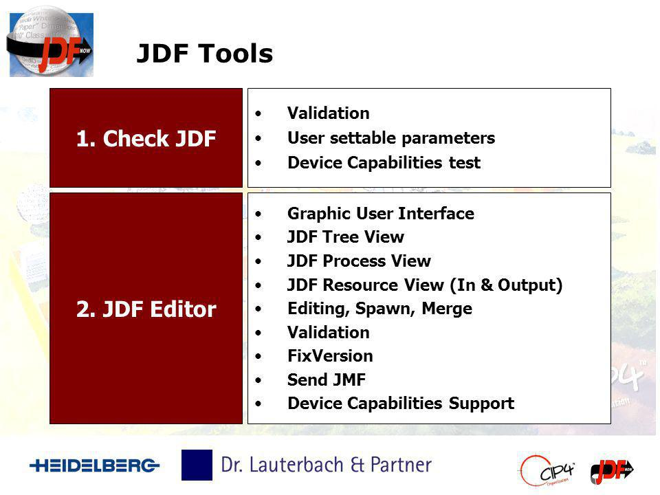 JDF Tools 1. Check JDF 2. JDF Editor Validation