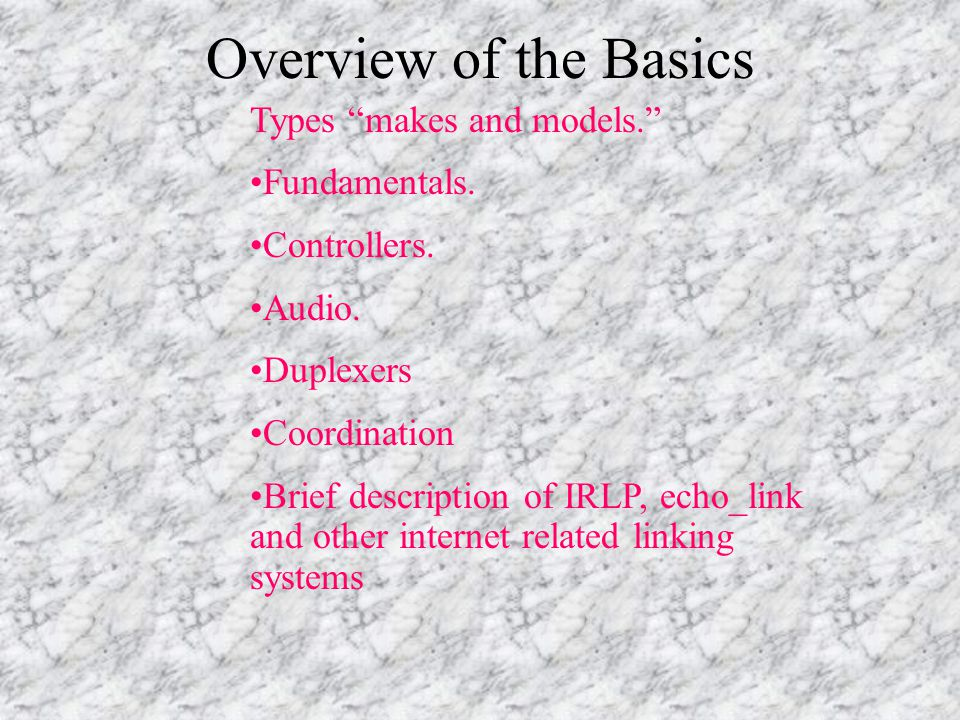 Overview of the Basics Types makes and models. Fundamentals.