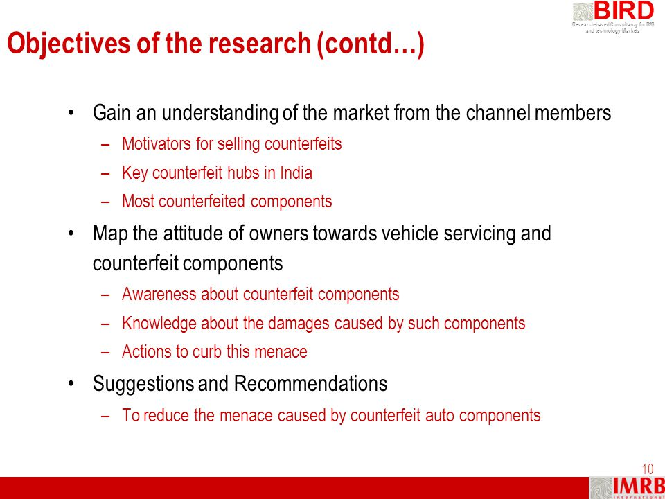 Objectives of the research (contd…)