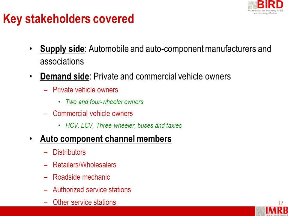 Key stakeholders covered