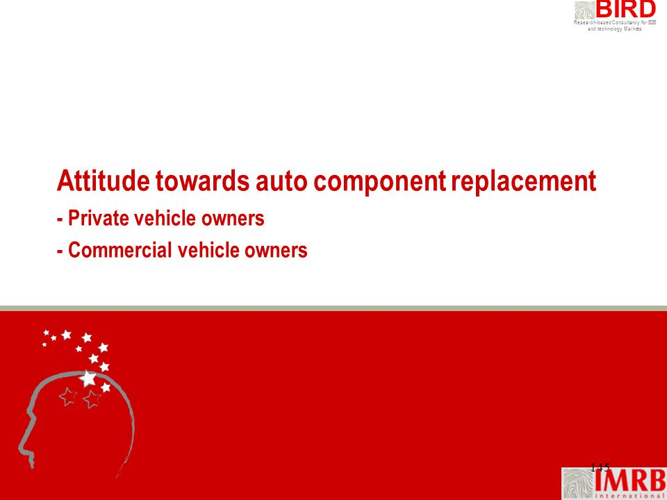 Attitude towards auto component replacement - Private vehicle owners - Commercial vehicle owners