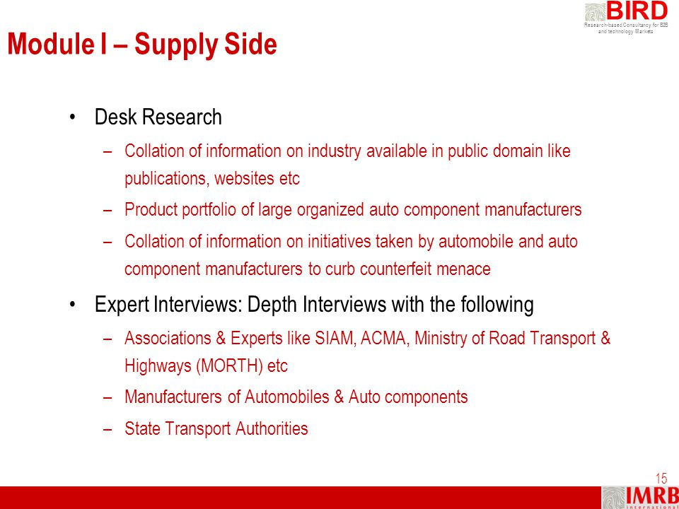 Module I – Supply Side Desk Research