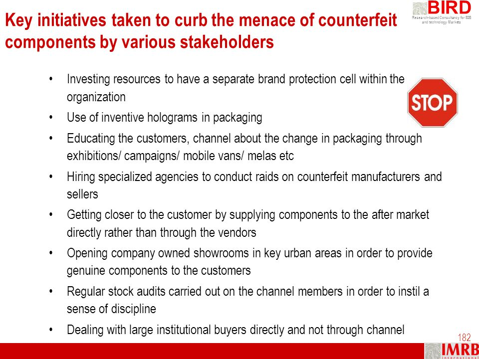Key initiatives taken to curb the menace of counterfeit components by various stakeholders