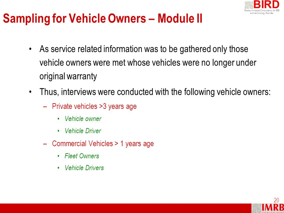 Sampling for Vehicle Owners – Module II