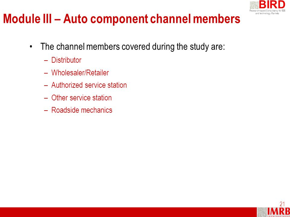 Module III – Auto component channel members