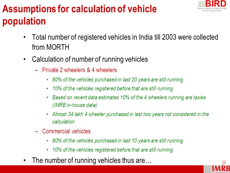 Assumptions for calculation of vehicle population