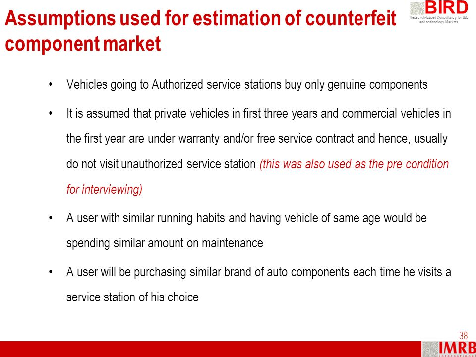 Assumptions used for estimation of counterfeit component market