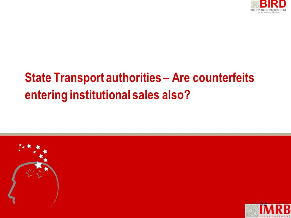 State Transport authorities – Are counterfeits entering institutional sales also