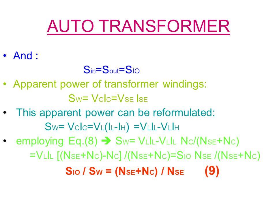 AUTO TRANSFORMER And : Sin=Sout=SIO