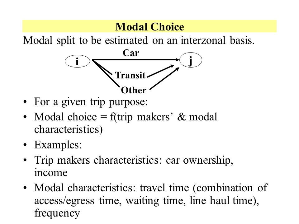 Modal split to be estimated on an interzonal basis.
