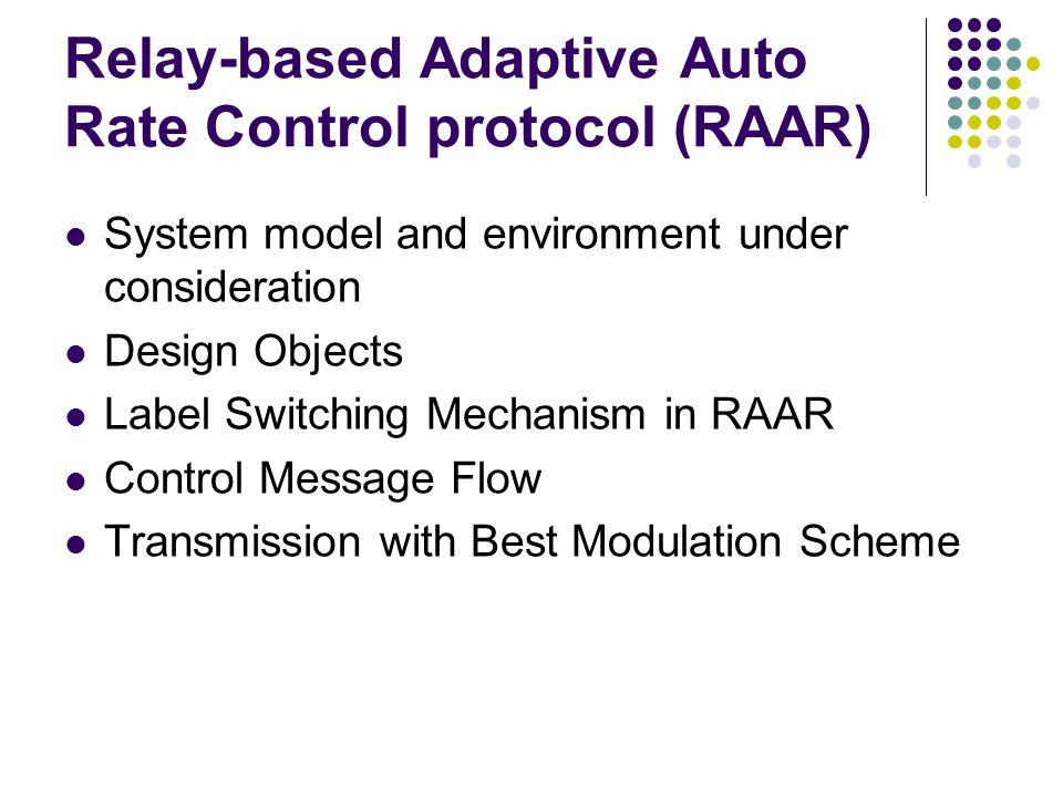 Relay-based Adaptive Auto Rate Control protocol (RAAR)