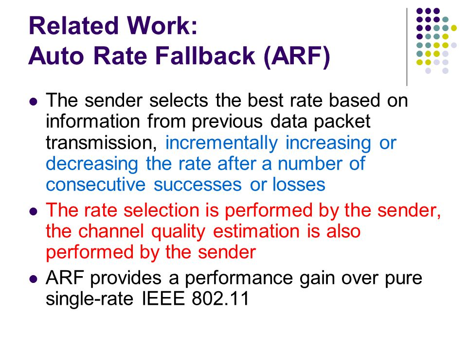 Related Work: Auto Rate Fallback (ARF)