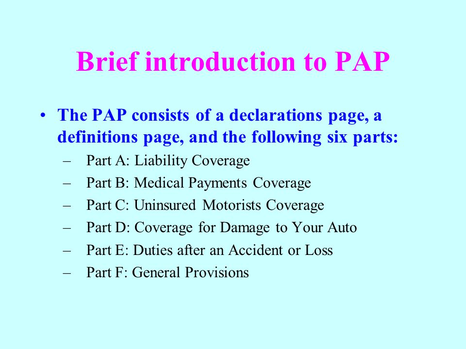 Brief introduction to PAP