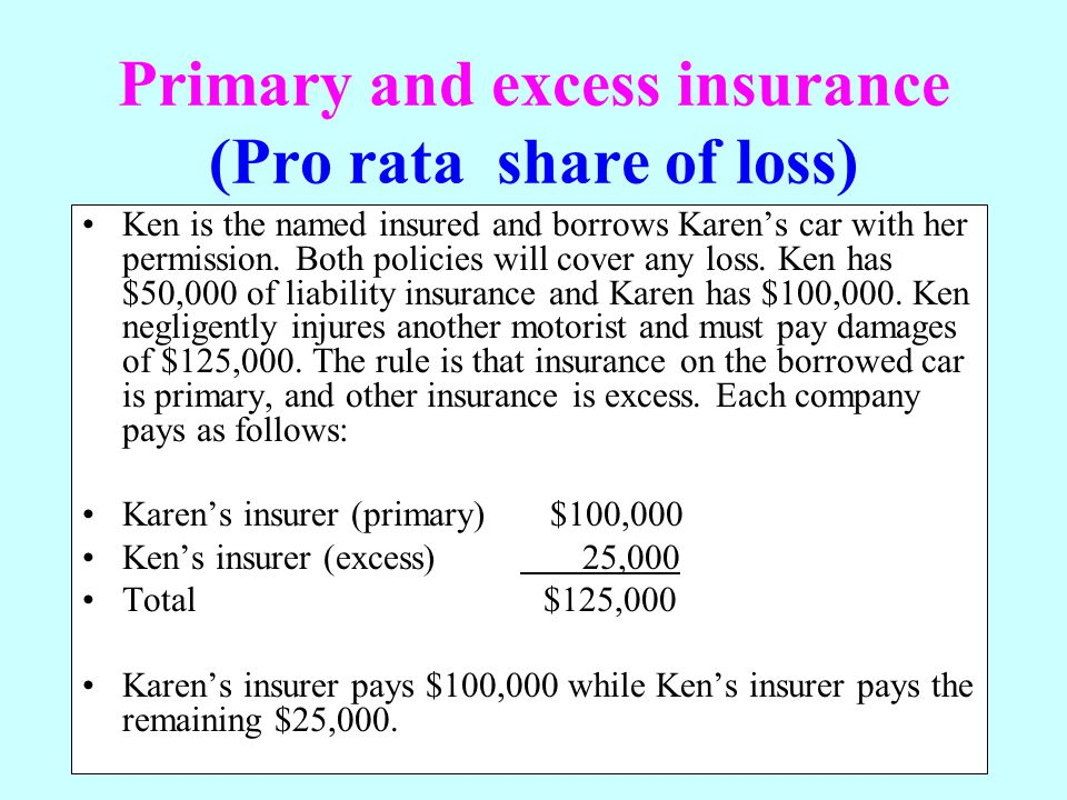 Primary and excess insurance (Pro rata share of loss)