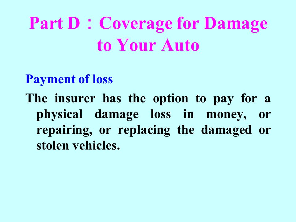 Part D:Coverage for Damage to Your Auto