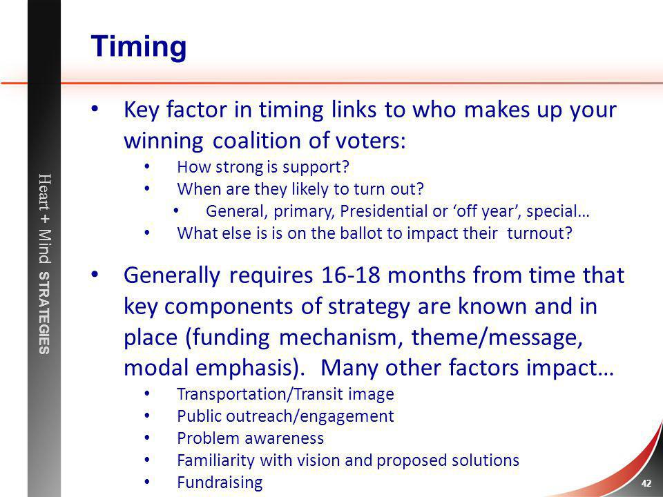 Timing Key factor in timing links to who makes up your winning coalition of voters: How strong is support