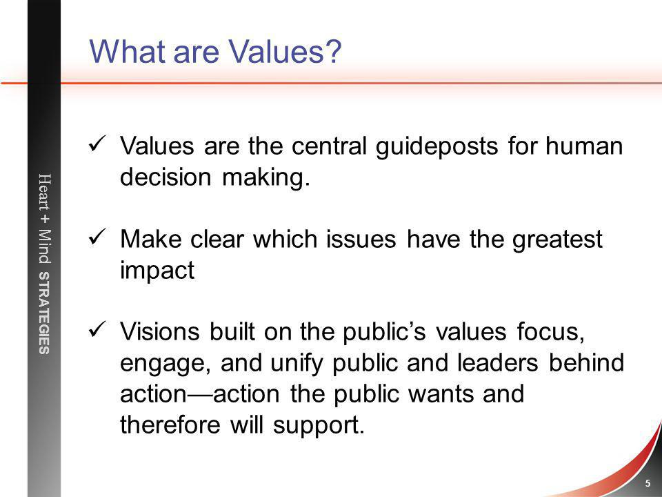 What are Values Values are the central guideposts for human decision making. Make clear which issues have the greatest impact.
