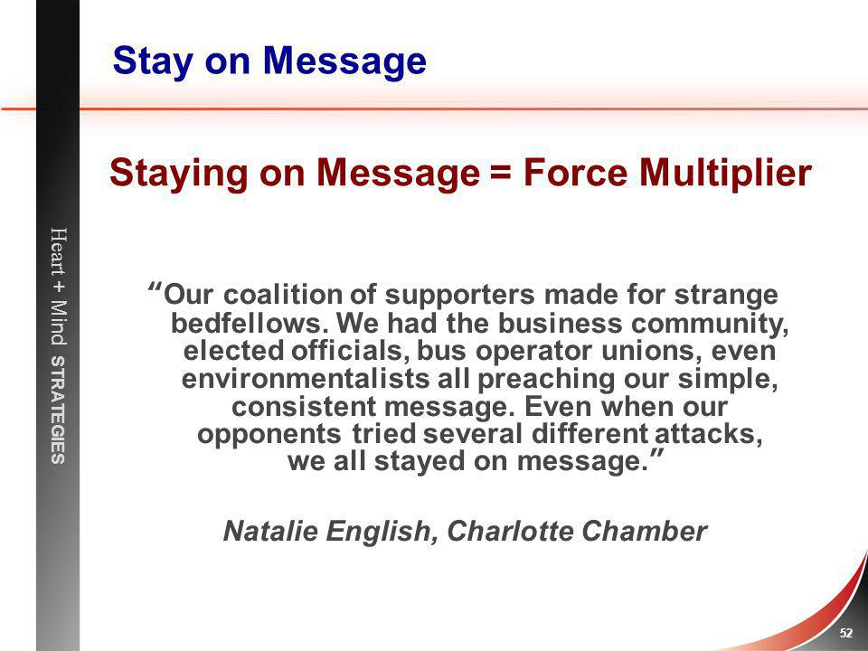 Staying on Message = Force Multiplier