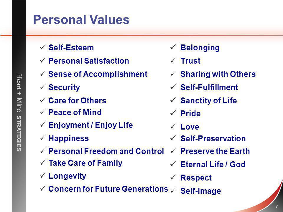 Personal Values Self-Esteem Personal Satisfaction
