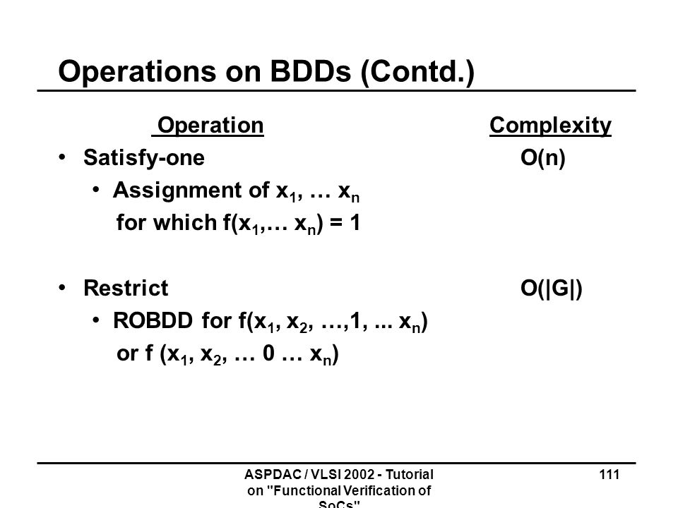 Operations on BDDs (Contd.)
