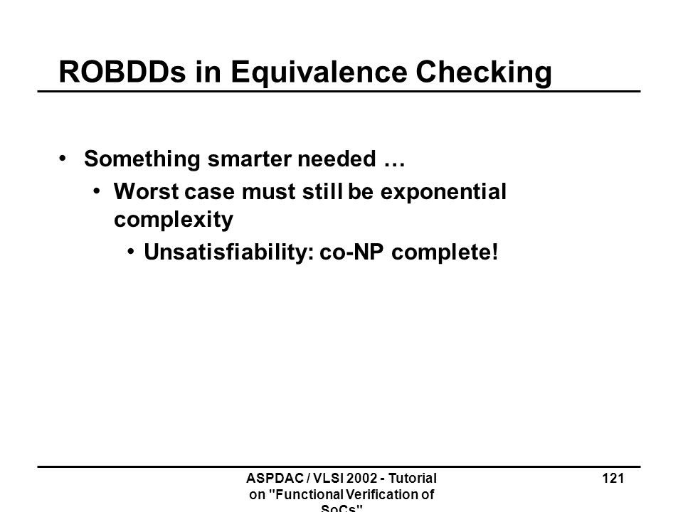 ROBDDs in Equivalence Checking