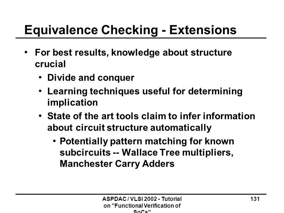 Equivalence Checking - Extensions