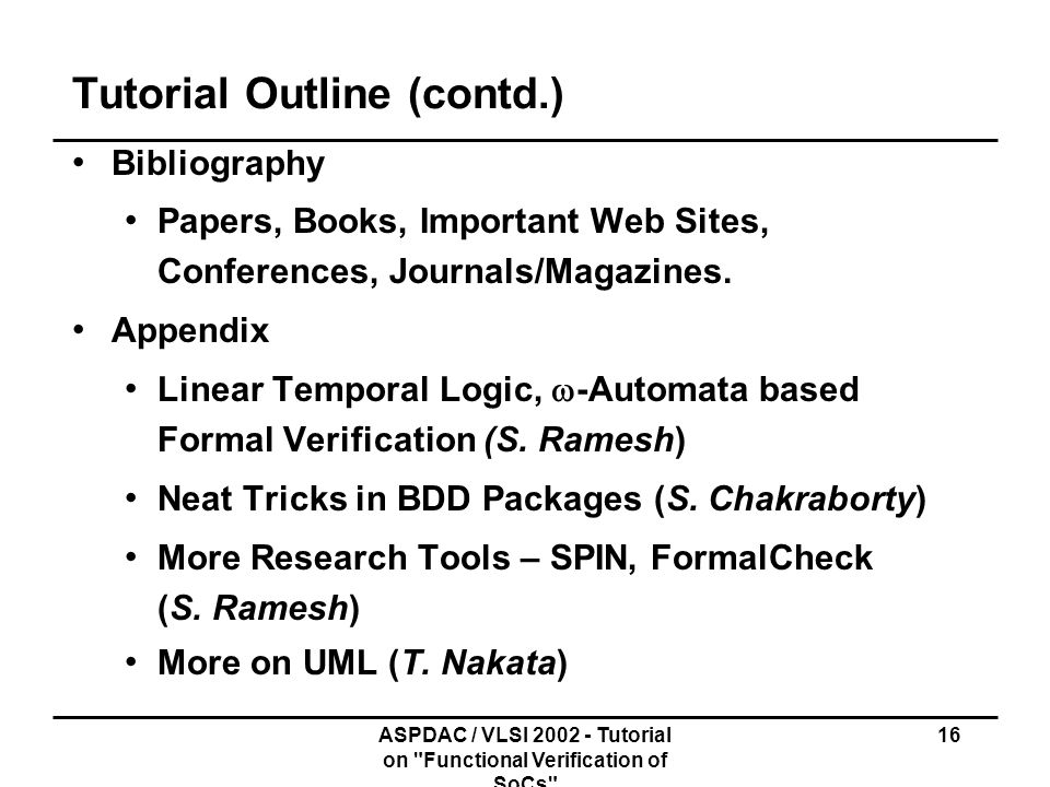 Tutorial Outline (contd.)