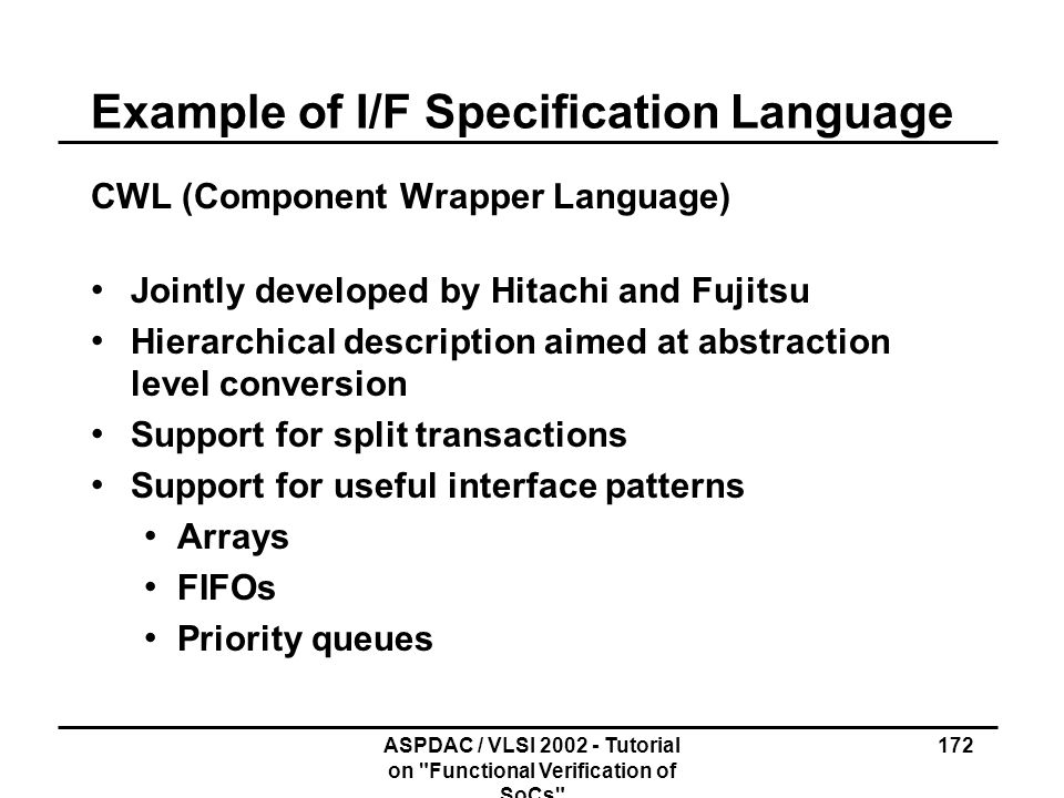 Example of I/F Specification Language