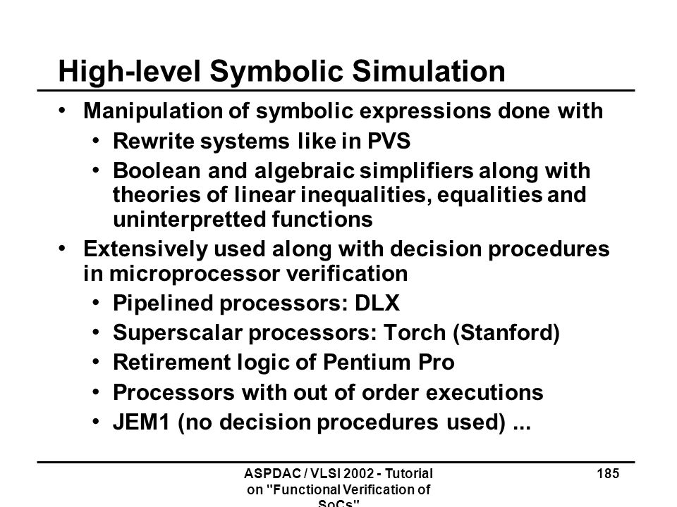 High-level Symbolic Simulation