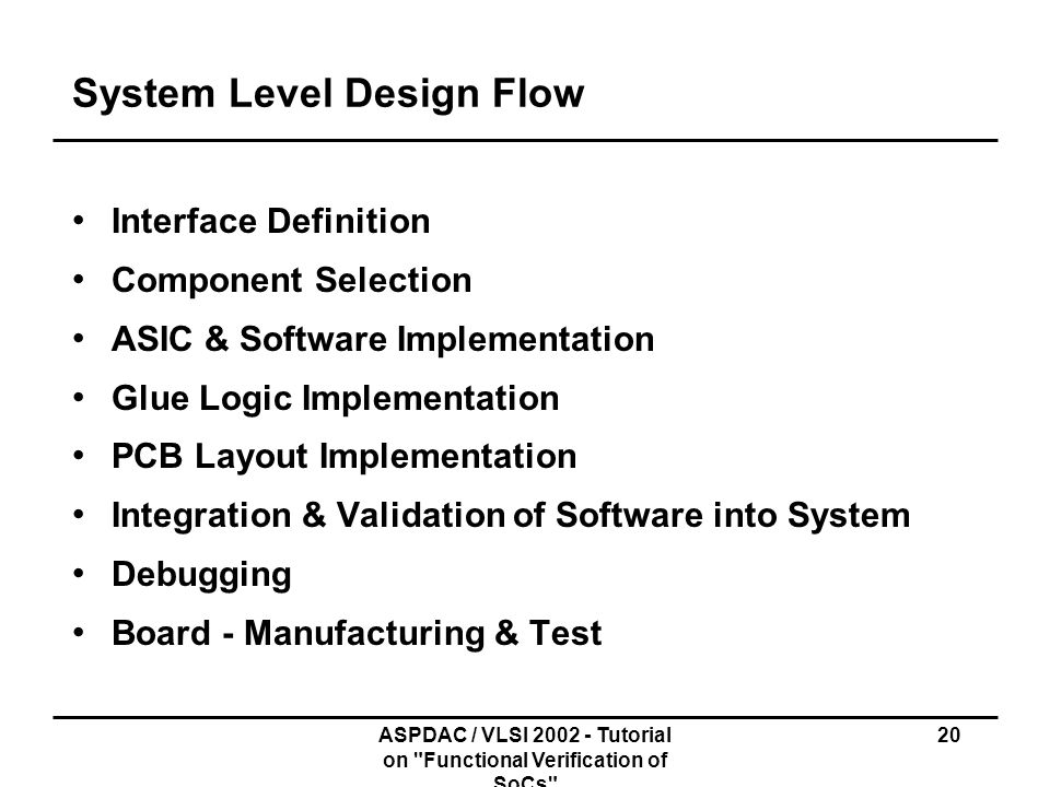 System Level Design Flow