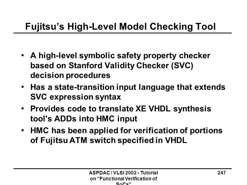 Fujitsu's High-Level Model Checking Tool