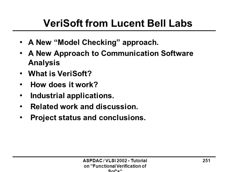 VeriSoft from Lucent Bell Labs